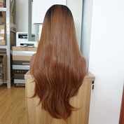 Xiweiya ombre black brown long straight synthetic lace front wig for black women 2 tones heat resistant fibre
