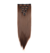 FIRSTLIKE 160g 60cm Light Brown Straight Double Weft Clip In Hair Extensions Thicker Full Head Straight Curly 7 Pieces 16 Clips Colourful Smooth Silky For Women Beauty