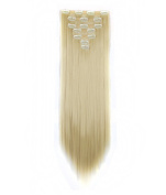 FIRSTLIKE 160g 60cm Bleach Blonde Straight Double Weft Clip In Hair Extensions Thicker Full Head Straight Curly 7 Pieces 16 Clips Colourful Smooth Silky For Women Beauty