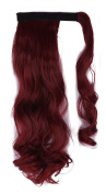 FIRSTLIKE 46cm Curly Dark Red Wrap Around Pony Tail Clip in Hair Extensions Long Hairpiece Colours For Girls