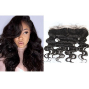 TheFashionWay Natural Colour Lace Frontal Closures-33cm x 10cm Ear To Ear Bleached Knots Free Part Body Wave/ Silky Straight Brazilian Virgin Huamn Hair