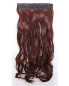 One Piece Clip in Hair Extensions 60cm Curly Half Head Mixed Colours -Ruby Red