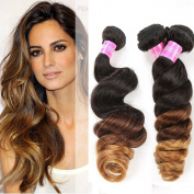 12 12 36cm Ms Mary Hair Peruvian Ombre Loose Wave Hair Extensions Human Hair Weaves 3 Tone Bundles 300 Grammes #1b/4/30 Tangle Free and Shed Free
