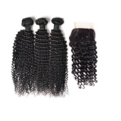 VK Brazilian Hair Weave 300gram with Lace Closure Kinky Curl 100% Unprocessed Human Hair