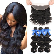 GEFINE Hair 13x 4 Ear To Ear Lace Frontal Closure With Bundles 8A Brazilian Body Wave With Frontal Closure Brazilian Virgin Hair With Closure 16 18 20+36cm