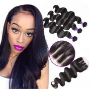 Shining Star Hair Three Part 1pc 4x4 Lace Closure with Virgin Brazilian Human Hair 4 Bundles Weaves 5pcs Lot Body Wave Natural Colour