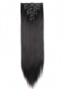FIRSTLIKE 160g 60cm Dark Brown Straight Double Weft Clip In Hair Extensions Thick Full Head Long Straight Curly 7 Pieces 16 Clips Black Brown Blonde Colours Soft Silky Dress For Girls Beauty