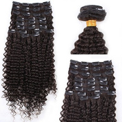 DLW Hair 9pcs 110g Remy Full Head Kinky Curly Clip In Brazilian Virgin Human Hair Extensions
