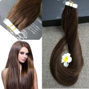Full Hair 50cm Remy Seamless Tape Skin Weft Human Hair Extensions Medium Brown (#4) 40 Pcs 100g Per Set