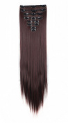 FIRSTLIKE 60cm 175g Straight Dark Auburn Double Weft Clip In Hair Extensions Thick Full Head Long 8 Pieces 18 Clips Soft Silky For Girls