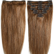 33cm 80g Clip in Remy Human Hair Extensions Full Head 8 Pieces Set Short length Straight Very Soft Style Real Silky for Beauty #6 Light Brown