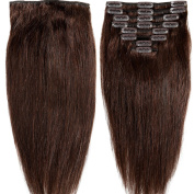 60cm 120g Clip in Remy Human Hair Extensions Full Head 8 Pieces Set Long length Straight Very Soft Style Real Silky for Beauty #2 Dark Brown