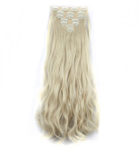 FIRSTLIKE 160g 60cm Bleach Blonde Curly Double Weft Clip In Hair Extensions Thick Full Head Straight Curly 7 Pieces 16 Clips Black Brown Blonde Colourful Soft Silky Dress For Women Beauty