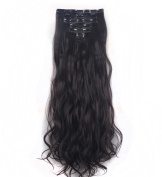 FIRSTLIKE 160g 60cm Dark Brown Curly Double Weft Clip In Hair Extensions Thick Full Head Straight Curly 7 Pieces 16 Clips Black Brown Blonde Colourful Soft Silky Dress For Women Beauty
