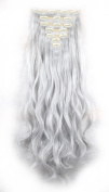 FIRSTLIKE 160g 60cm Silver Grey Curly Double Weft Clip In Hair Extensions Thick Full Head Straight Curly 7 Pieces 16 Clips Black Brown Blonde Colourful Soft Silky Dress For Women Beauty