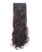FIRSTLIKE 160g 60cm Medium Brown Curly Double Weft Clip In Hair Extensions Thick Full Head Straight Curly 7 Pieces 16 Clips Black Brown Blonde Colourful Soft Silky Dress For Women Beauty