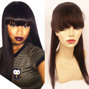 N.L.W. 8A grade Brazilian virgin human hair straight thick Bangs & Ponytails with hair band,15cm front Bangs and 46cm hair backing Ponytails for fashion girls