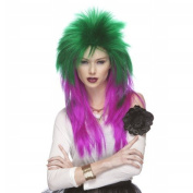 Characters Extra Long Rocker Synthetic Wig - Emerald And Magenta