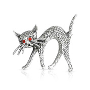 Bling Jewellery Sterling Silver Red Glass Eye Perched Cat Pin