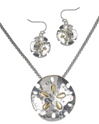 Two Tone Hammered Sand Dollar Necklace Magnetic Pendant Earrings & Popcorn Chain By Jewellery Nexus