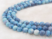 COIRIS 8MM Synthetic Dyed Blue Riverstone Gem Round Stone Loose Beads for Jewellery Making & DIY & Design