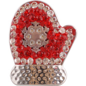 Lovmoment 20mm Christmas Gloves Snaps Buttons With Rhinestones Interchangeable Charms Jewellery