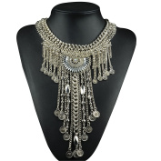 Lanue Vintage Alloy Crystal Necklce Long Ethnic Tribal Boho Chain Tassel Pendant Necklaces