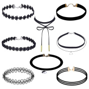 XILALU 8 pcs Women sexy Choker Necklace Set Stretch Velvet Classic Gothic Lace Choker