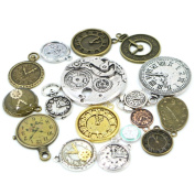 30pcs Mixed Antique Bronze/Antique Silver Clock Faces, DIY Crafts, Jewellery Making, Steampunk Pendants