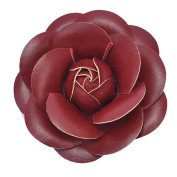 Mogor Women's Pu Leather Camellia Flower Pin Brooch with Gift Box Style4 Red
