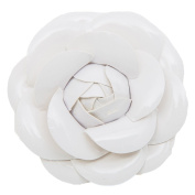 Mogor Women's Pu Leather Camellia Flower Pin Brooch with Gift Box Style2 White