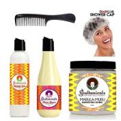 Soultanicals Mango Dip Dentaling Slip + Knot Sauce Coil Detangler + Marula-Muru Moisture Guru + Shower Cap + Comb
