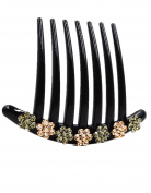 Fancyin New arrival Luxury Flower Austrian Crystal colourful rhinestones hair comb for women