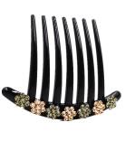 Fancyin New arrival Luxury Flower Austrian Crystal colourful rhinestones hair comb for women