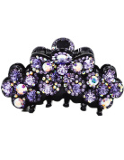 Fancyin New arrival Luxury Purple Austrian Crystal colourful rhinestones hair claw clip for women