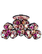 Fancyin New arrival Luxury Austrian Crystal Clover colourful rhinestones butterfly hair claw clip for women