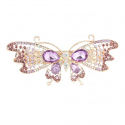 GSM Accessories Womens Rhinestone Crystal Butterfly Large Hair Clips Barrette HC152-Purple