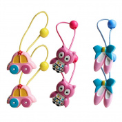 6Pcs Cute Owl Car Shoes Patterns Hair Holder Girl Hair Holder Colourful Owl Girl's Hair Rope Ponytail Kids Holder Elastic