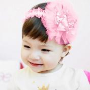 Efaster Baby Girls Princess Lace Gauze Bowknot Crown Headbands Elastic Hairbands