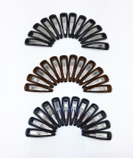 yueton 36pcs Black Blue Brown Glossy Snap Prong Clips Bendy Hair Clips Barrettes for Ladies Girls Hair Bows