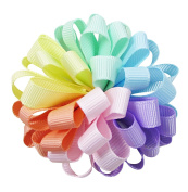 2pc HipGirl Boutique 6.4cm Girls Ribbon Loopy Puff Hair Bow Clips/Barrettes