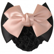 LiveZone Women Professional Hair Bun Cover Net Snood Hairnet Bowknot Decor Barrette Hair Clip Bow Lace Flower Hair Accessories ,Pink