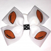 4 Loop Football Ball Hair Bow, Made in the USA, Many colours, White Pony Bankd