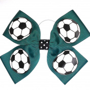 4 Loop Soccer hair Bows, Made in the USA, many colours, White Pony Band