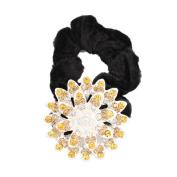 GSM Accessories Womens Girls Rhinestone Alloy Sunflower Velvet Ponytail Holders Hair Accessories PH027-Coffee