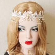 Fashion White Lace Tassel Hairbands Hand Made Bridal Pearl Hair Accessories Woman Big Pearl Garland Headbands