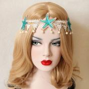 Beach Vacation Unique Pearl Lace Hair Band Female Tassel Lace Starfish Headbands Queen Roayl Bride Hair Accessory Bohemia Trend