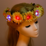 Valdler Rainbow Dasies Light Up LED Sunflower Flower crown Headband with Adjustable Ribbon for Halloween Party Yellow