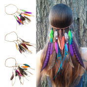 3Pcs Indian Peacock Feather Headband Handmade Hair Rope Headdress Halloween Headpiece