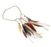 Indian Peacock Feather Headband Handmade Hair Rope Headdress Halloween Headpiece